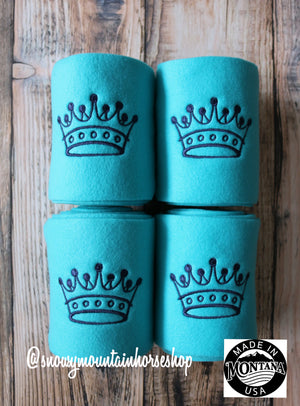 Polo Wraps / Stable Wraps, Set of 4 OR Set of 2, Standard Size, Turquoise Base Black Princess Crown, Embroidered Polo Wraps