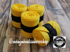 Polo Wraps / Stable Wraps, Set of 4 , Standard Size, Black Glitter Ribbon Yellow Base
