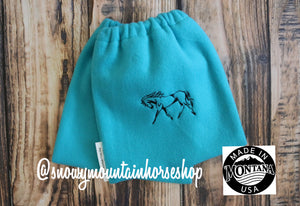 English Stirrup Covers,Stirrup Bag, Equine Iron Covers Embroidered Horse, Turquoise Base