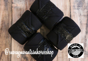 Polo Wraps / Stable Wraps, Set of 4 , Standard or Yearling/ Pony Size, Black Base Black Glitter Ribbon