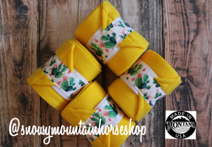 Polo Wraps / Stable Wraps, Set of 4 , Standard Size, Flowery Cacti Cactus Field Yellow Base
