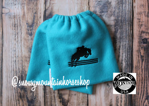English Stirrup Covers, Stirrup Bag, Equine Iron Covers, Elastic Closing, Embroidered Jumping Horse Hunter Jumper Turquoise