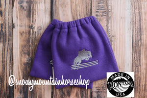 English Stirrup Covers, Stirrup Bag, Equine Iron Covers, Elastic Closing, Embroidered Jumping Horse Hunter Jumper Purple