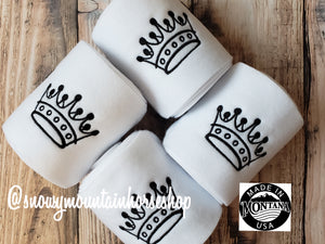 Polo Wraps / Stable Wraps, Set of 4 OR Set of 2, Standard Size, White Base Black Princess Crown, Embroidered Polo Wraps