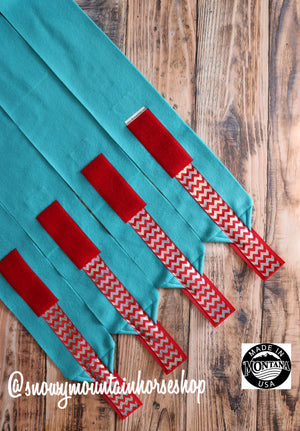 Polo Wraps / Stable Wraps, Set of 4 , Standard or Yearling/ Pony Size, Turquoise Base with Red Hologram Chevron Ribbon