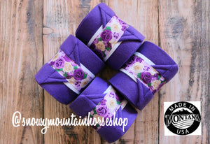Polo Wraps / Stable Wraps, Set of 4 , Standard Size, Floral Roses Purple Base