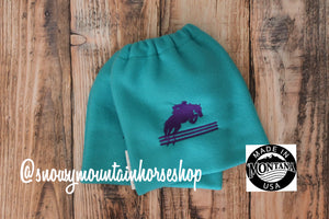 English Stirrup Covers, Stirrup Bag, Equine Iron Covers, Elastic Closing, Embroidered Jumping Horse Turquoise Base, Purple Jumper