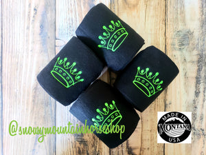 Polo Wraps / Stable Wraps, Set of 4 OR Set of 2, Standard Size, Navy Base Lime Princess Crown, Embroidered Polo Wraps