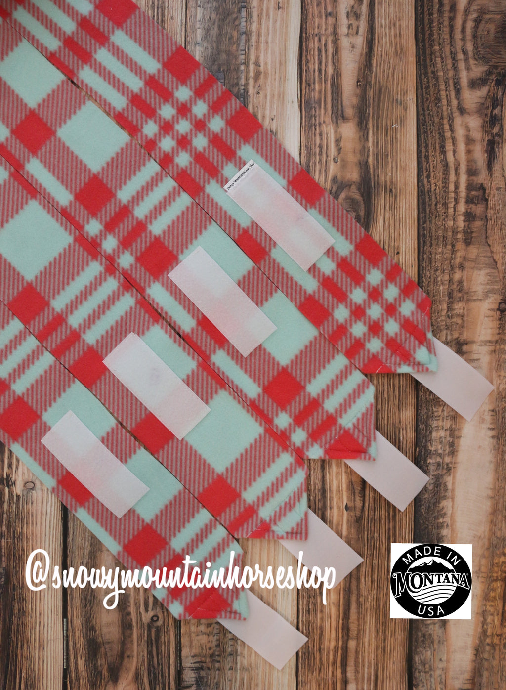 Wraps / Stable Wraps, Set of 2 OR 4 Standard Size, Mint and Coral Plaid