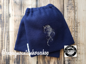 English Stirrup Covers,Stirrup Bag, Equine Iron Covers Embroidered Horse Head, Navy Blue Base