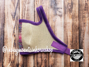 Fly Mask For Horses, Handmade in the USA Montana, Fly Proyection, Native American Purple Aztec