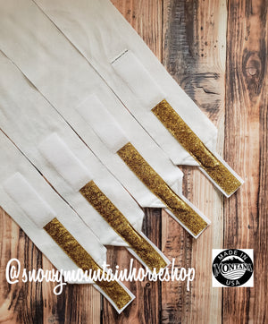 Polo Wraps / Stable Wraps, Set of 4 , Standard or Yearling/ Pony Size, White Base Gold Glitter Ribbon