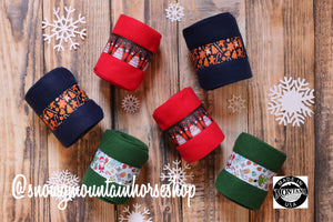 Polo Wraps / Stable Wraps, Set of 4 OR Set of 2, Standard Size, Santa on Red Base, Holiday Themed Christmas, Polo Wraps