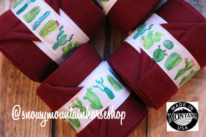 Polo Wraps / Stable Wraps, Set of 4 , Standard Size, Flowery Cacti Cactus Field Burgundy Base