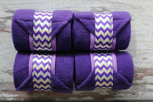 Polo Wraps / Stable Wraps, Set of 4 , Standard or Yearling/ Pony Size, Hologram Chevron Ribbon Purple