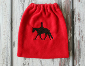 English Stirrup Covers, Stirrup Bag, Equine Iron Covers, Elastic Closing, Embroidered English Rider Red Base