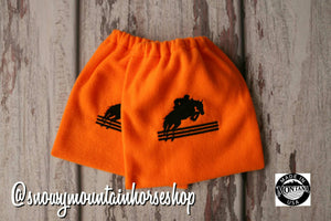 English Stirrup Covers, Stirrup Bag, Equine Iron Covers, Embroidered Jumping Horse Orange , Elastic Closing