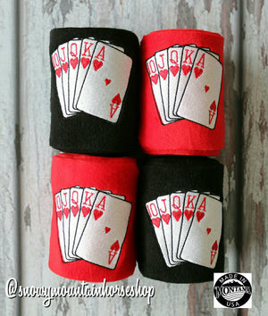 Polo Wraps / Stable Wraps, Set of 4 OR Set of 2  Standard Size, Embroidered Polo Wraps Royal Flush Poker Card