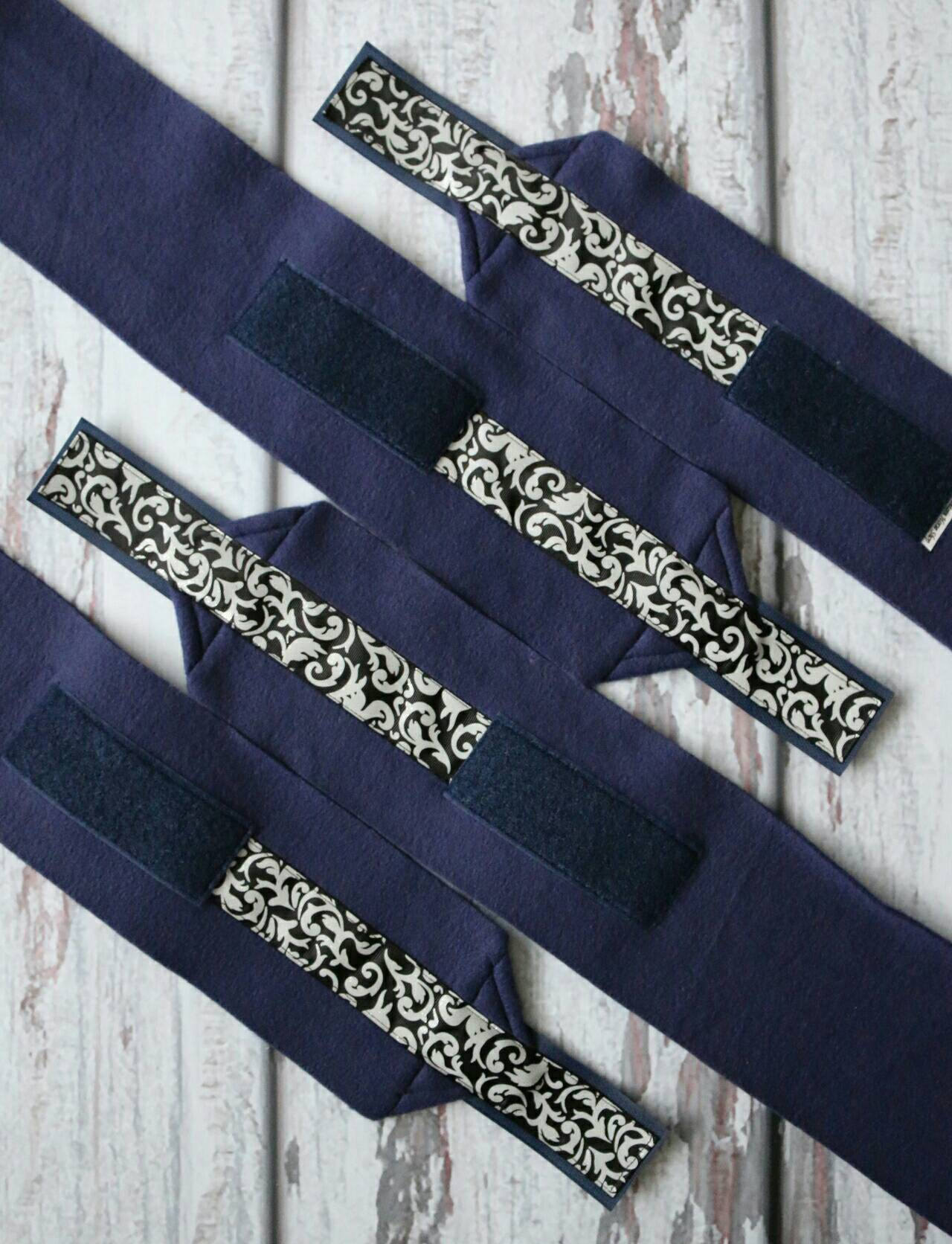 Polo Wraps / Stable Wraps, Set of 4 OR Set of 2, Standard Size Damask Navy Blue