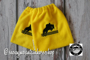 English Stirrup Covers, Stirrup Bag, Equine Iron Covers, Elastic Closing, Embroidered Jumping Horse Hunter Jumper Yellow Base