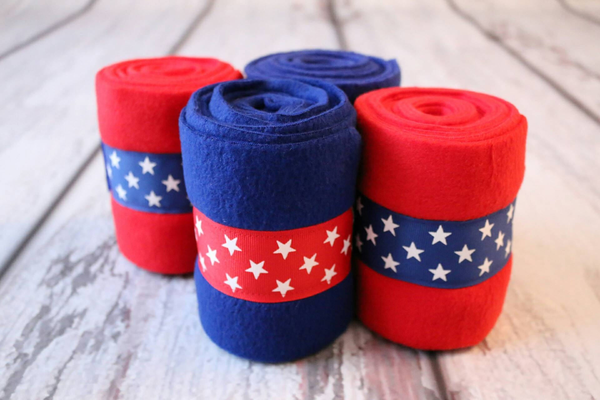 Polo Wraps / Stable Wraps, Set of 4 , Standard or Yearling/ Pony Size,Patriotic