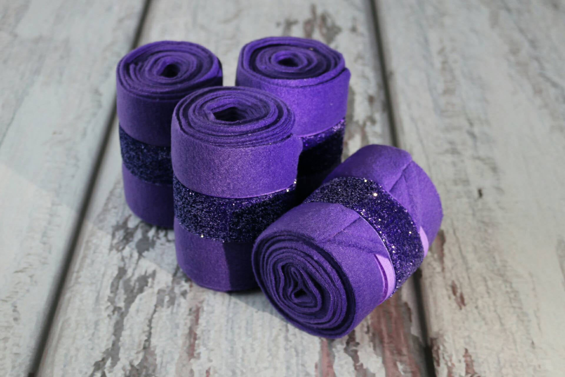 Polo Wraps / Stable Wraps, Set of 4 , Standard or Yearling/ Pony Size, Metallic Purple Ribbon
