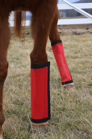 Fly Protective Leg Wraps / Leggings For Horses, Tapered  Style Set Of Four, Fly Protection For Horses, Red