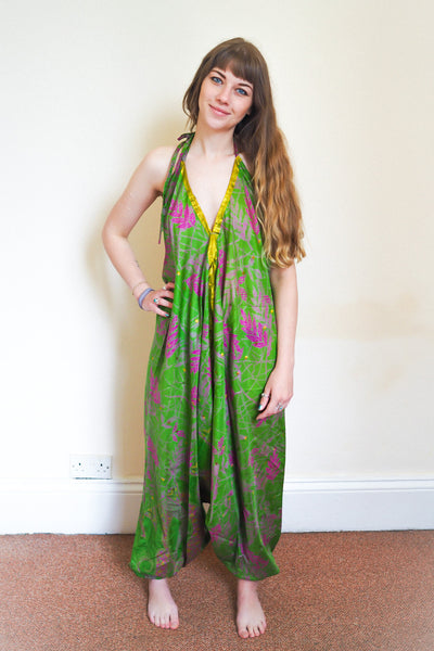 Festival jumpsuit/romper/one-piece made from reclaimed vintage sari - green & magenta leaf print