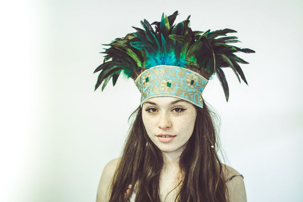 One of a kind: Large turquoise and green headpiece