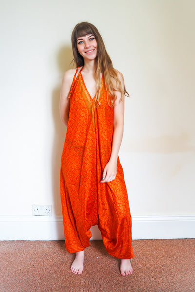 Festival jumpsuit/romper/one-piece made from reclaimed vintage sari - vibrant orange