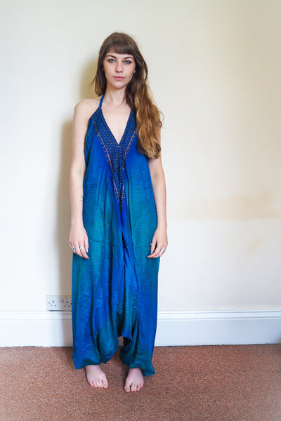 Festival jumpsuit/romper/one-piece made from reclaimed vintage sari - blue & gold