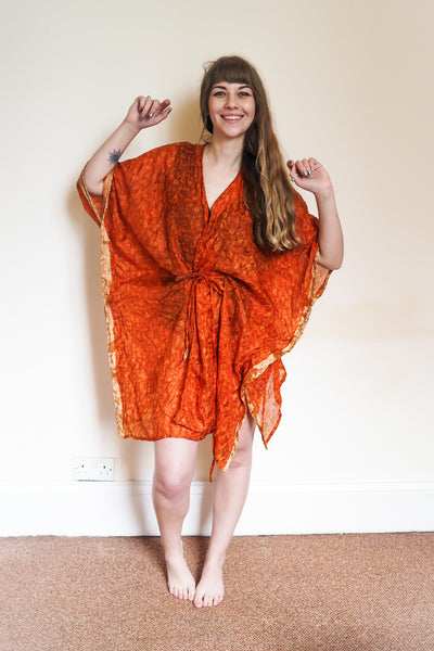 Festival kimono made from reclaimed vintage sari - crumpled orange