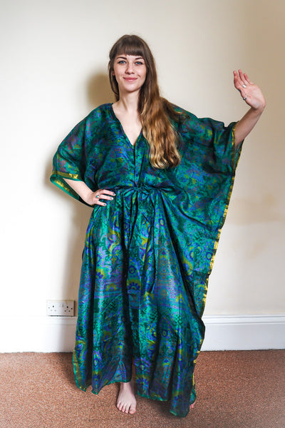 Festival kimono made from reclaimed vintage sari - emerald green