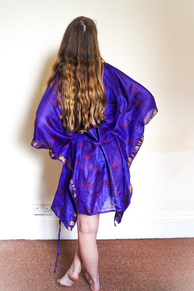 Festival kimono made from reclaimed vintage sari - royal blue