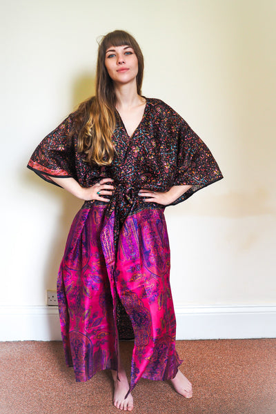 Festival kimono made from reclaimed vintage sari - black & pink florals