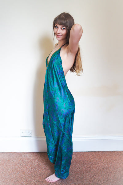 Festival jumpsuit/romper/one-piece made from reclaimed vintage sari - emerald green & blue with gold trim