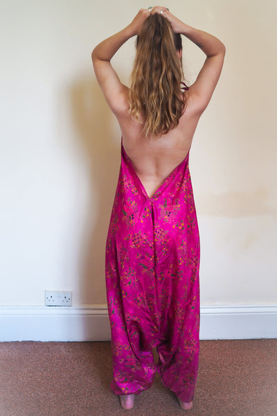 Festival jumpsuit/romper/one-piece made from reclaimed vintage sari - bright magenta pink with gold trim