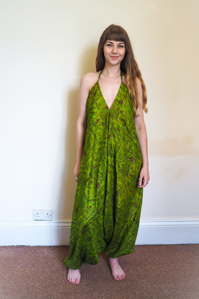 Festival jumpsuit/romper/one-piece made from reclaimed vintage sari - green print