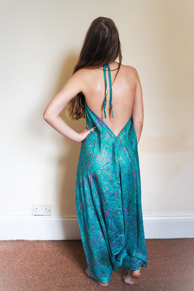 Festival jumpsuit/romper/one-piece made from reclaimed vintage sari  - aqua dream