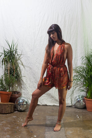 Tropicana  -  halter neck playsuit made from reclaimed vintage sari