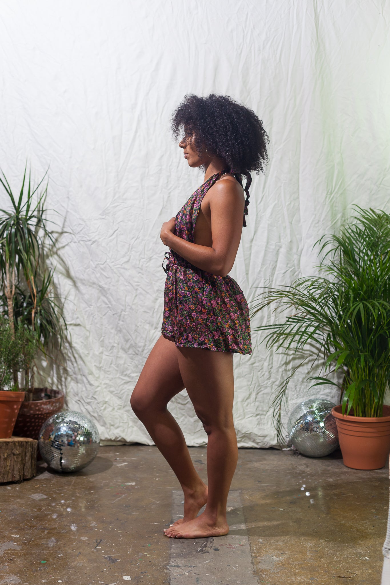 Flower garden  -  halter neck playsuit made from reclaimed vintage sari