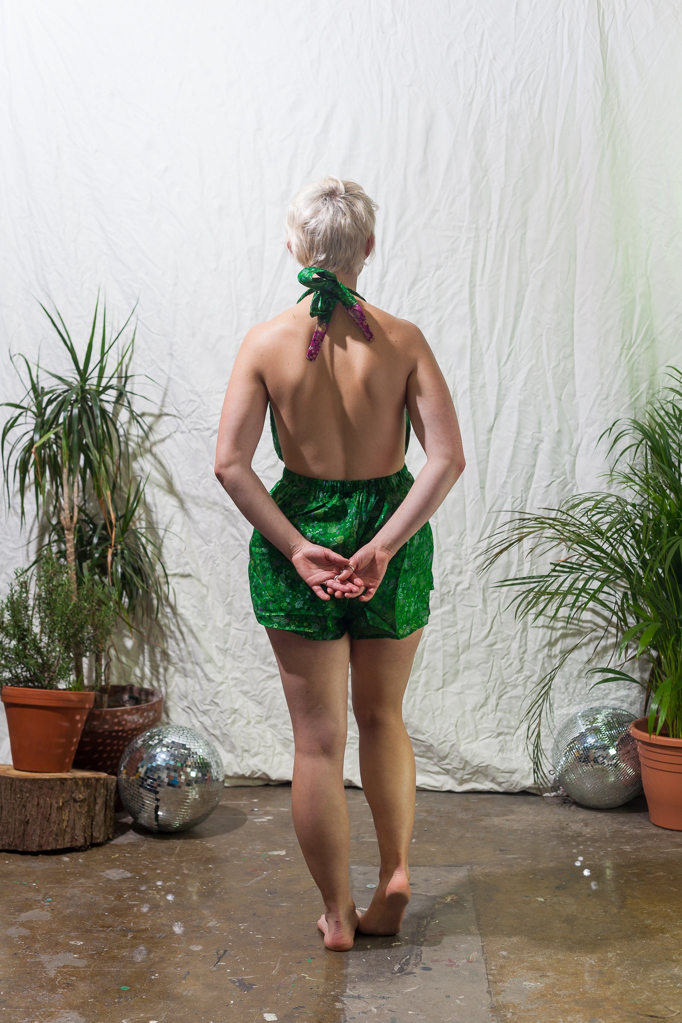 Tinkerbell  -  halter neck playsuit made from reclaimed vintage sari