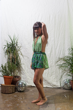 Green garden -  halter neck playsuit made from reclaimed vintage sari