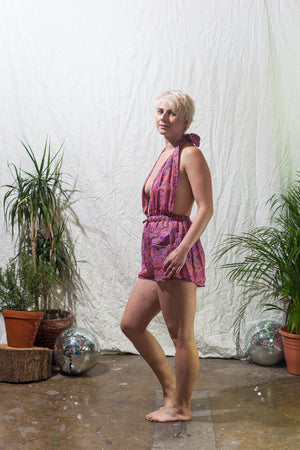 Rose -  halter neck playsuit made from reclaimed vintage sari