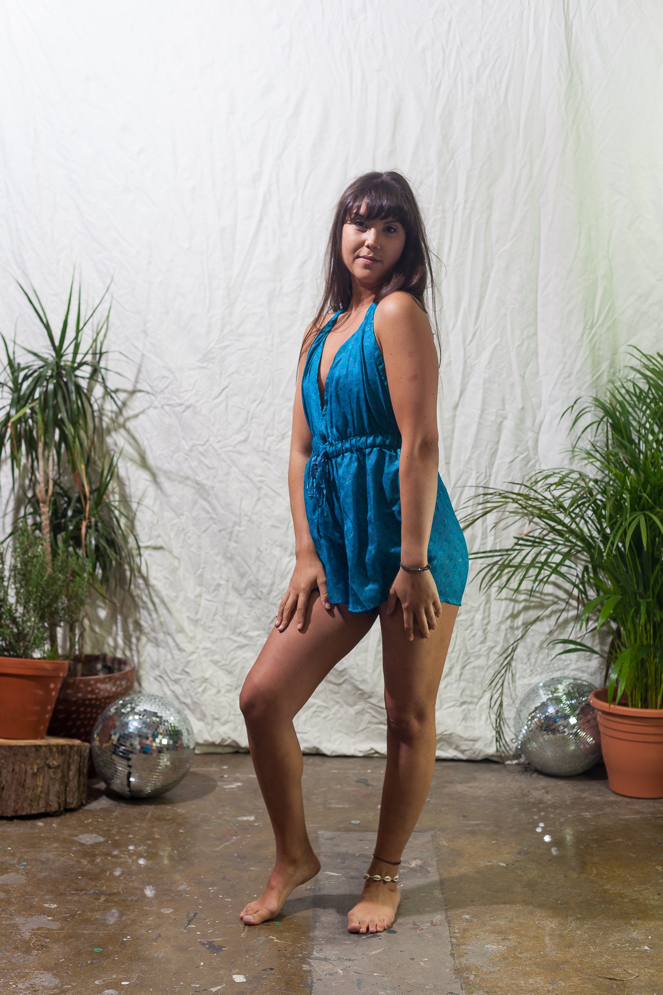 Blue moon -  halter neck playsuit made from reclaimed vintage sari
