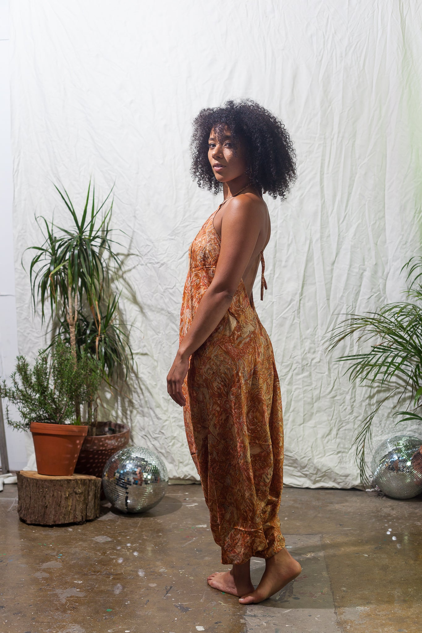 Terracotta -  festival jumpsuit/romper/one-piece made from reclaimed vintage sari