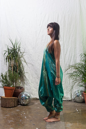 Princess peacock  -  festival jumpsuit/romper/one-piece made from reclaimed vintage sari