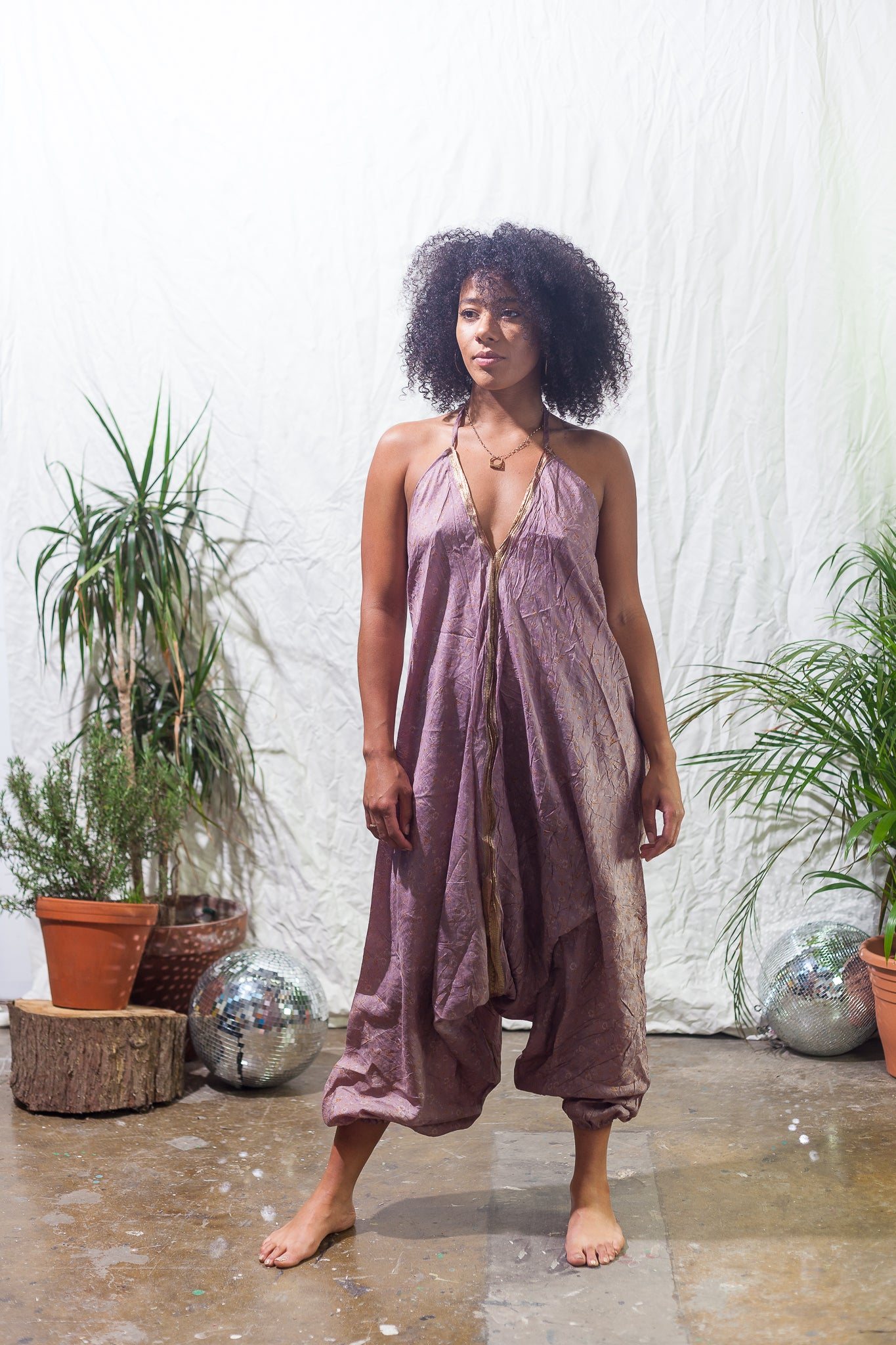Orchid  -  festival jumpsuit/romper/one-piece made from reclaimed vintage sari