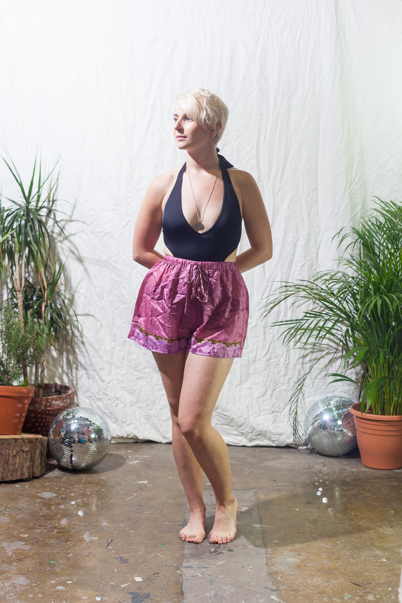 Perfect pink -  silk festival shorts