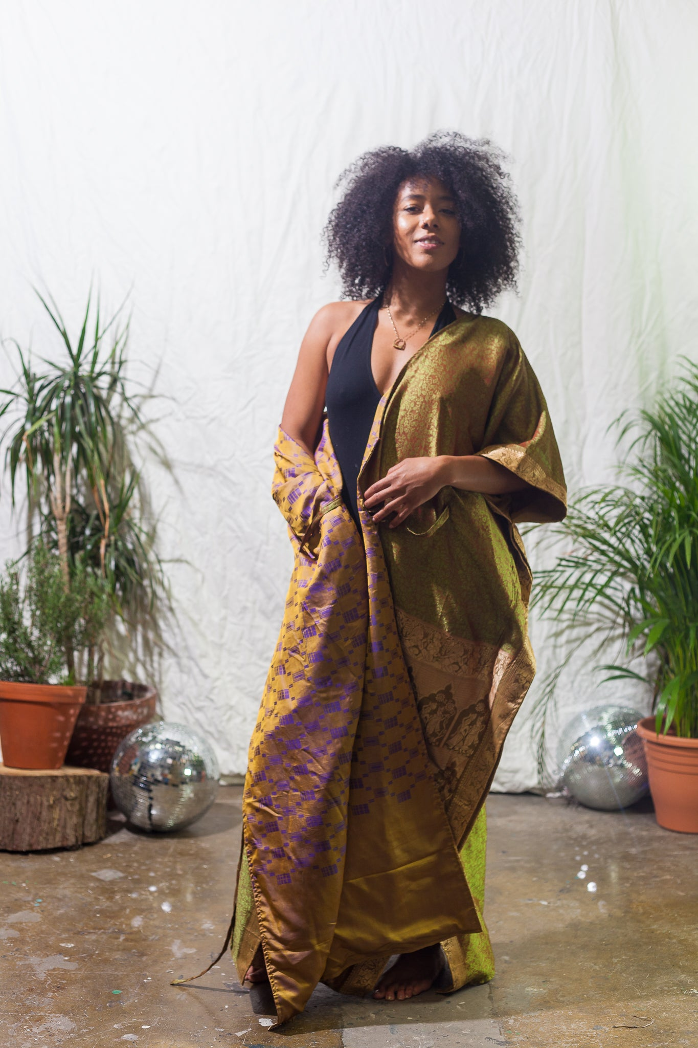Luxury long festival robe made from reclaimed brocade and silk saris